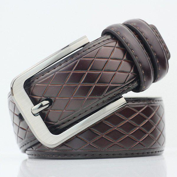 Rhombus Mesh Plaid PU Wide Belt - COFFEE