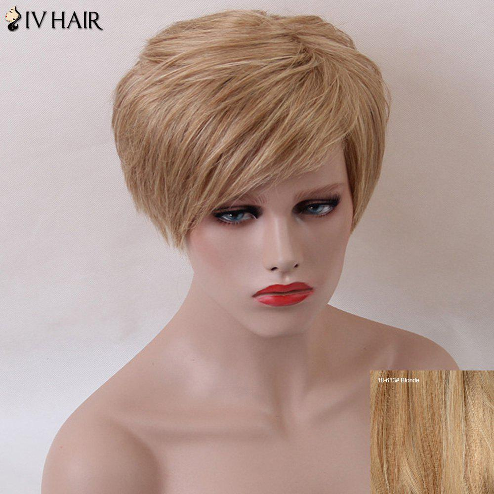 Siv Short Side Bang Shaggy Natural Straight Human Hair Wig - BLONDE