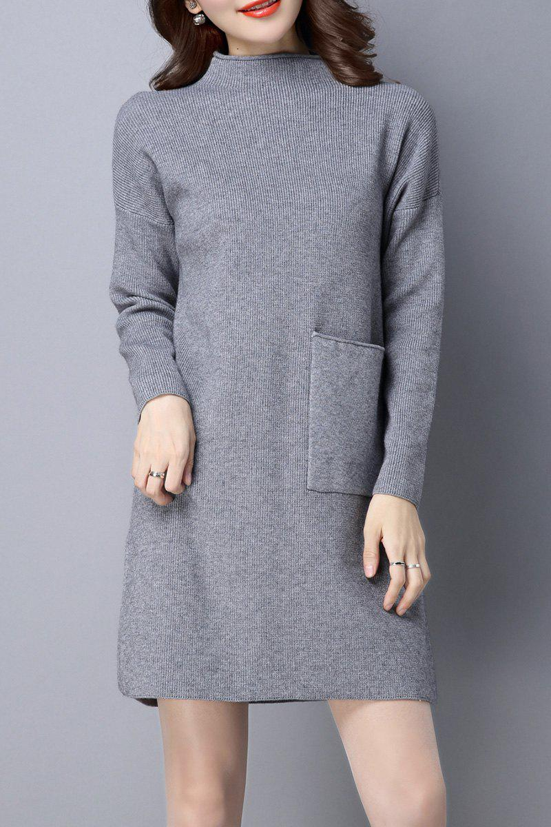 Single Pocket Slit Knitted Dress, Gray