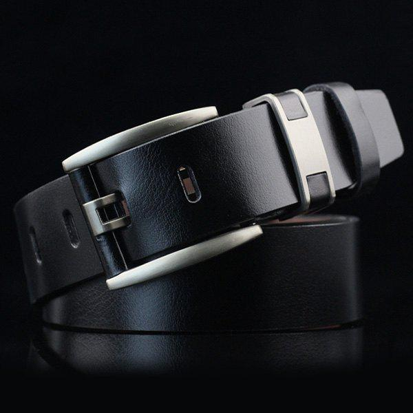 Hollow Out Pin Buckle PU Wide Belt - BLACK