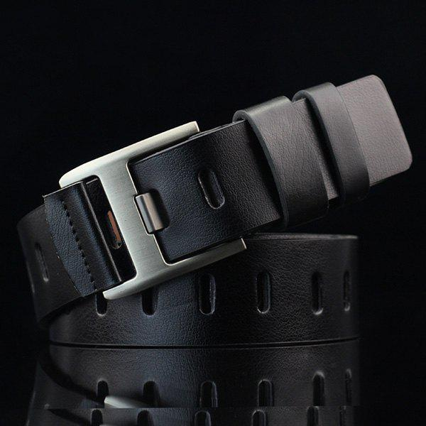Hollow Out Wide Hole PU Belt - BLACK
