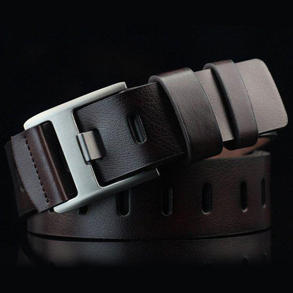 Hollow Out Wide Hole PU Belt - ESPRESSO