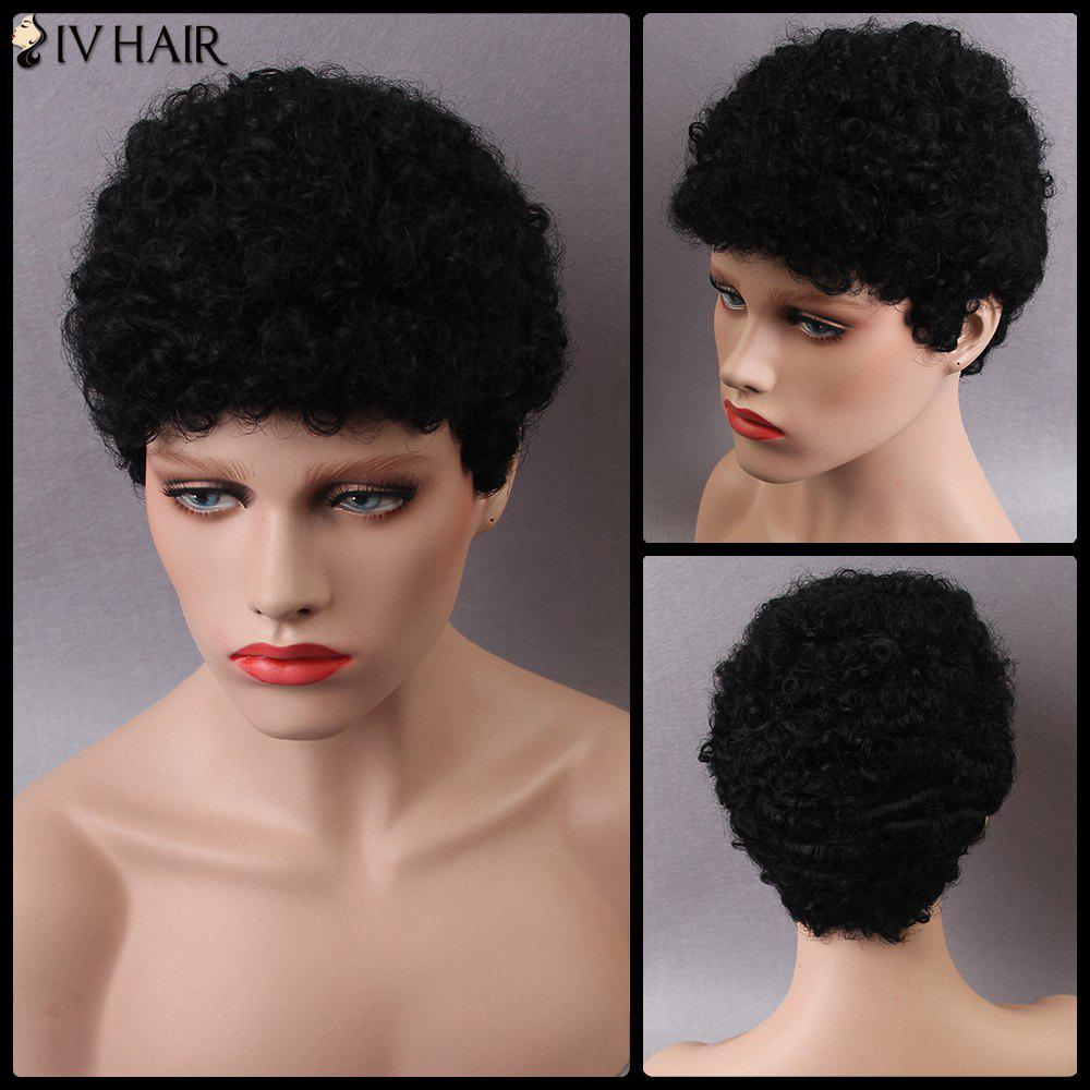 Siv Curly Short Human Hair Wig - JET BLACK