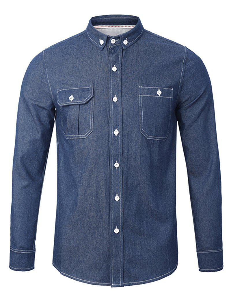 Chambray Back Pleated Pocket Button Down ShirtMen<br><br><br>Size: L<br>Color: ROYAL