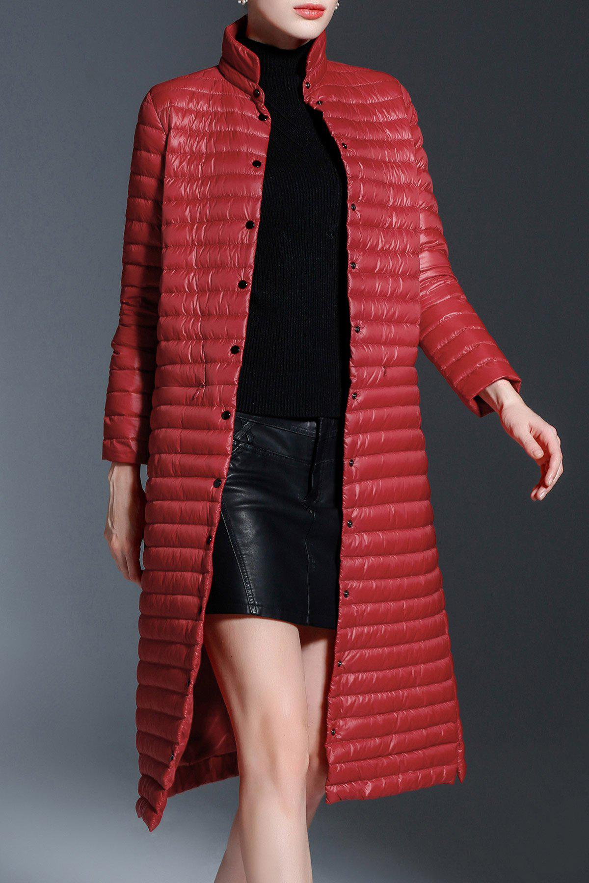 Snap Button A Line Down Coat - WINE RED S