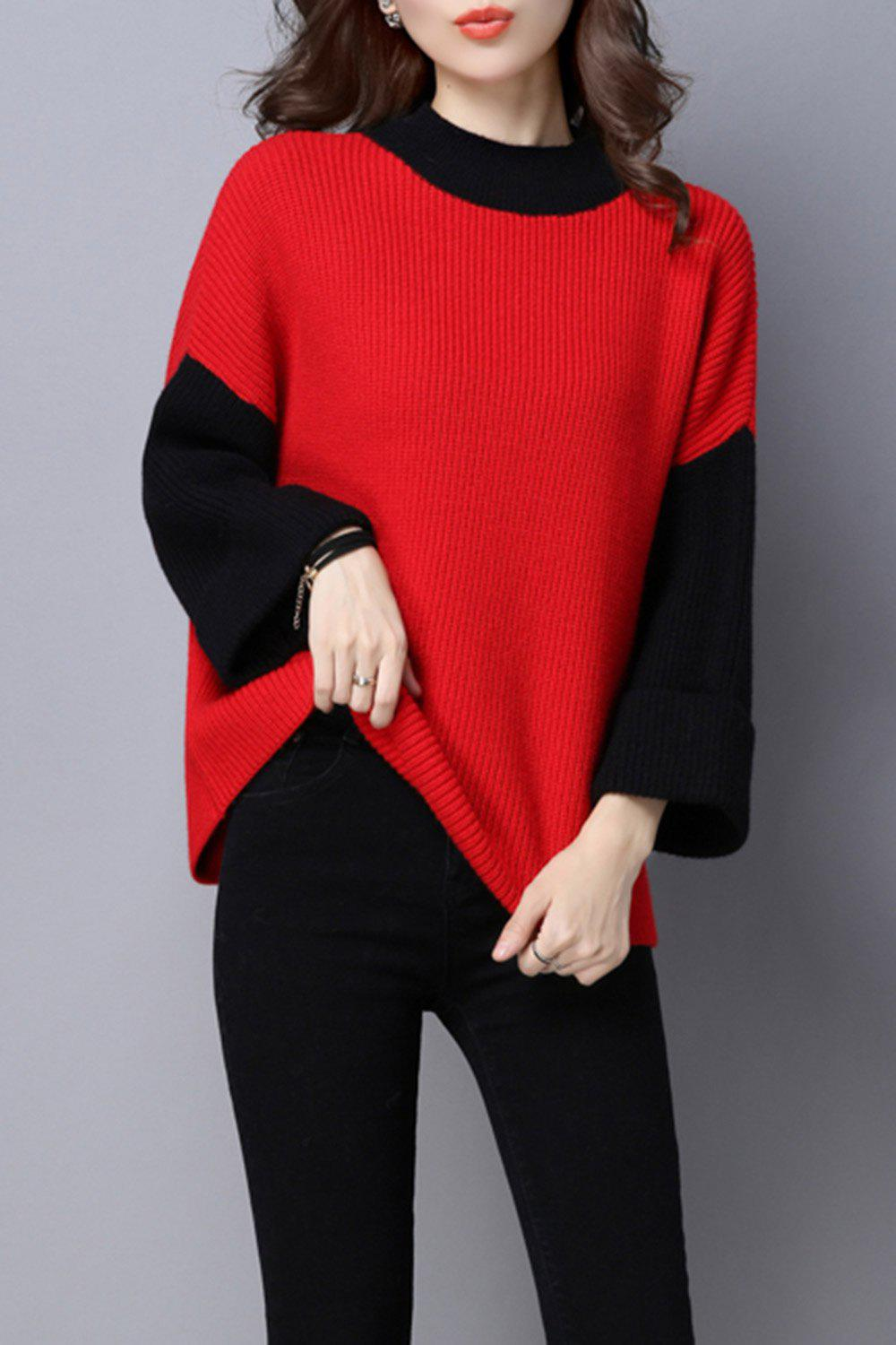 2017 Batwing Color Block Sweater RED ONE SIZE In Sweaters ...