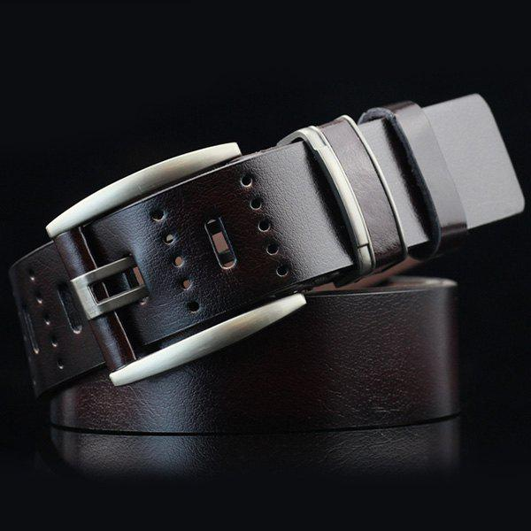 Hollow Out Small Hole Pin Buckle PU Belt - ESPRESSO