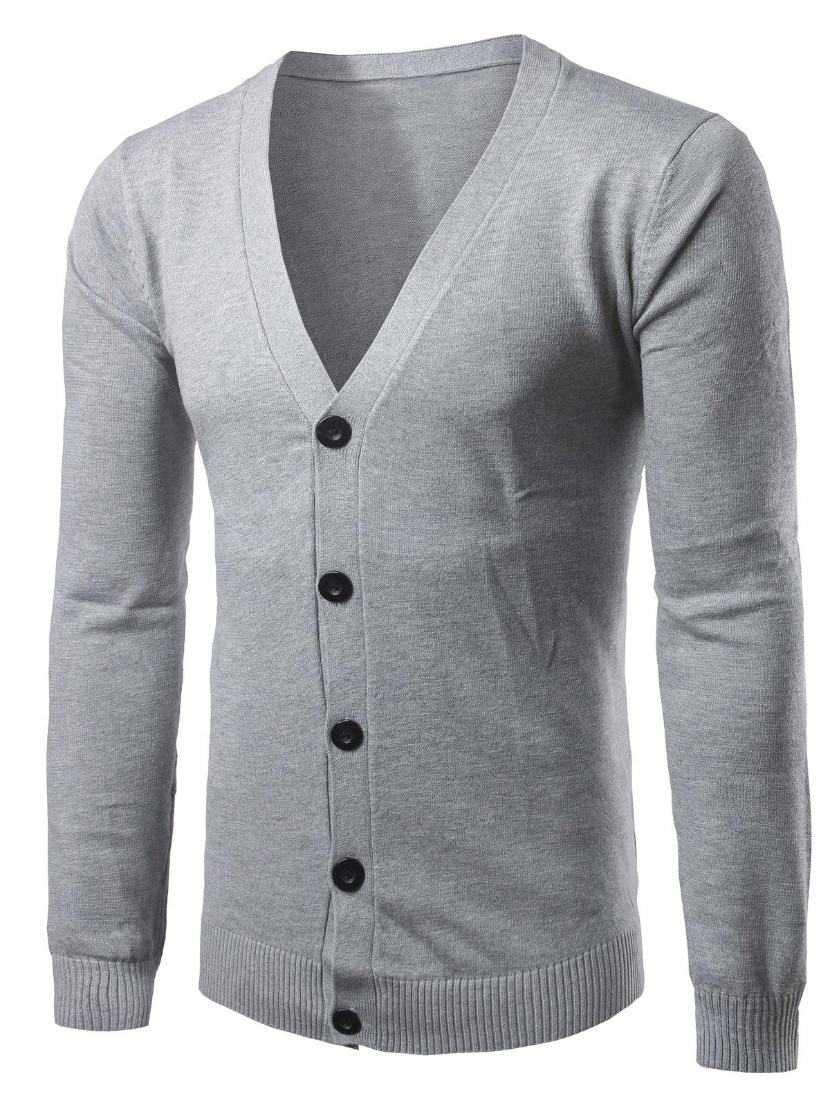 Slim Fit V Neck Button Up Cardigan - GRAY M