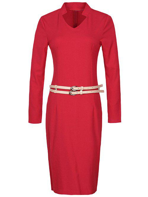 Long Sleeve Pencil Sheath Work Dress long sleeve lace pencil sheath dress