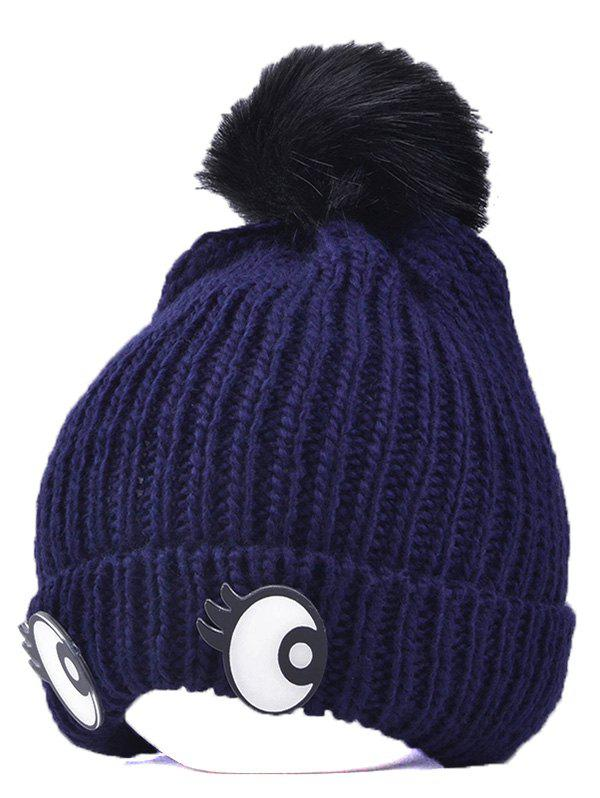 Winter Knitting Patterns Eyes Pom Hat - CADETBLUE