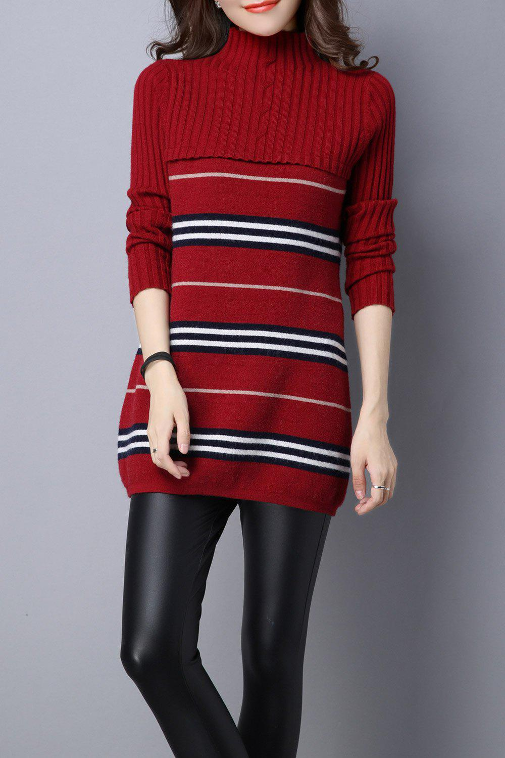 Stripe Color Block Knitted Jumper Dress - DEEP RED L
