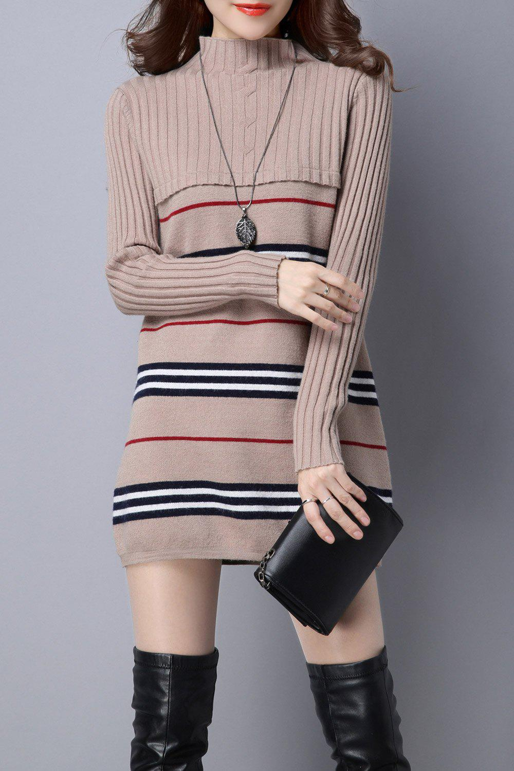 Stripe Color Block Knitted Jumper Dress cut and sew color block jumper