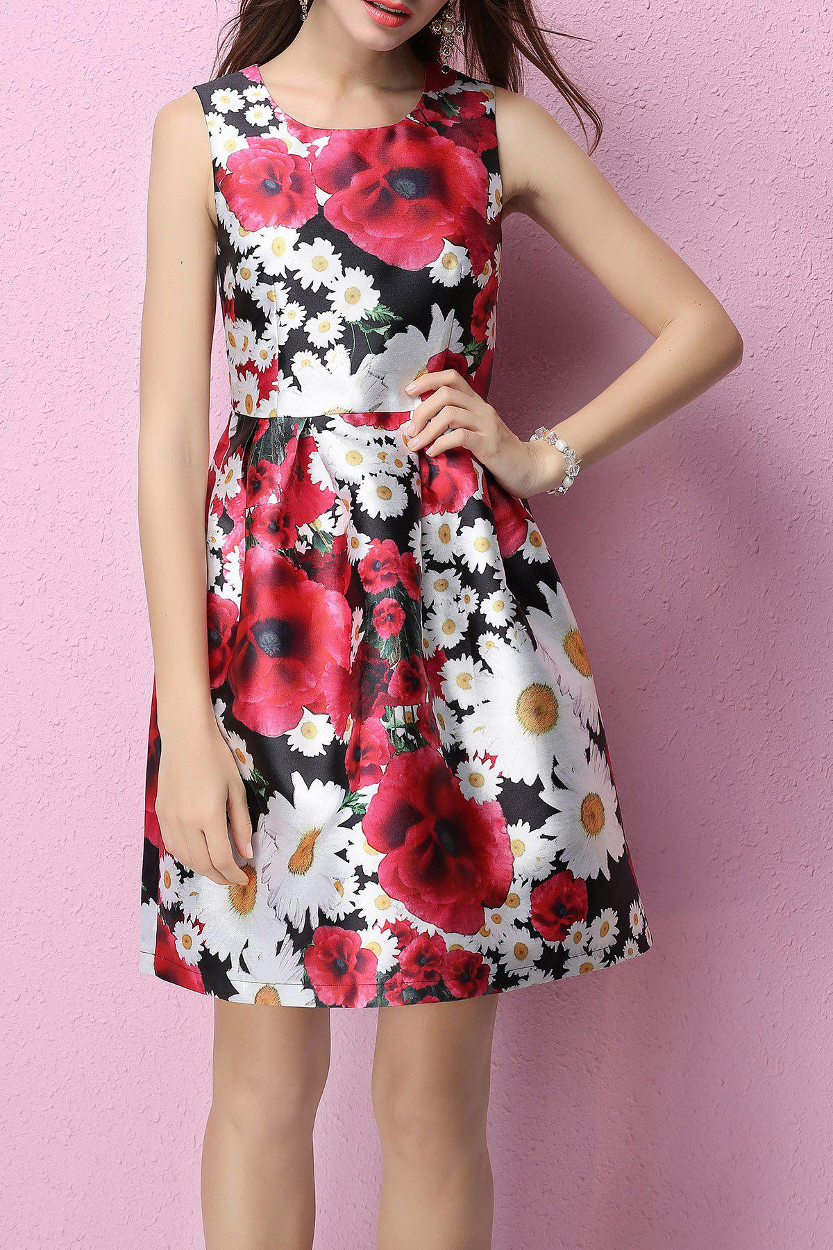 Vintage Sleeveless Floral Dress - FLORAL L