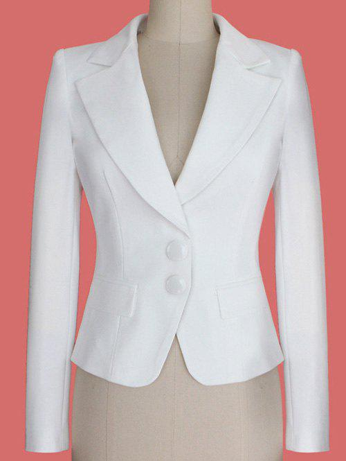 Two Buckle Slim Fit Short Peplum Blazer - WHITE L