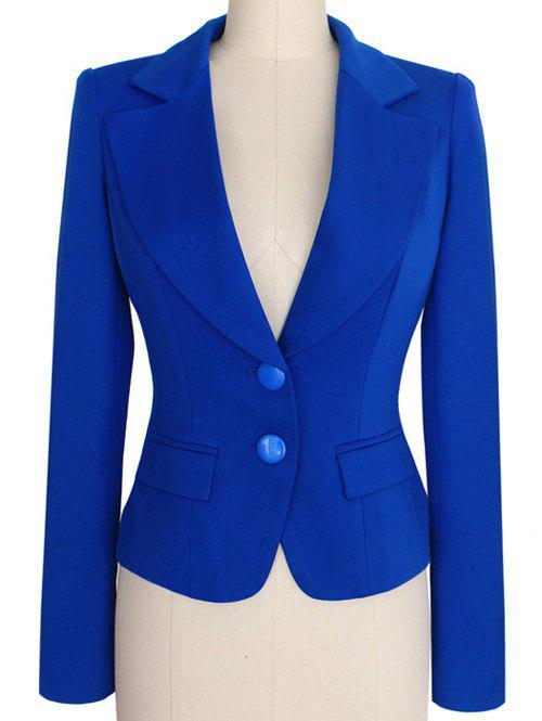 Image of Two Buckle Slim Fit Short Peplum Blazer