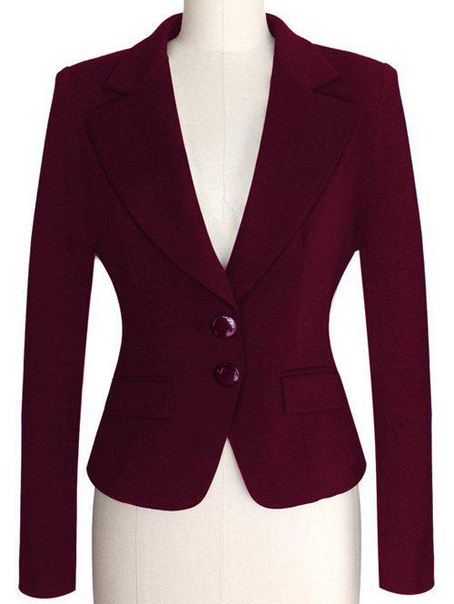 Two Buckle Slim Fit Short Peplum Blazer - PURPLISH RED S