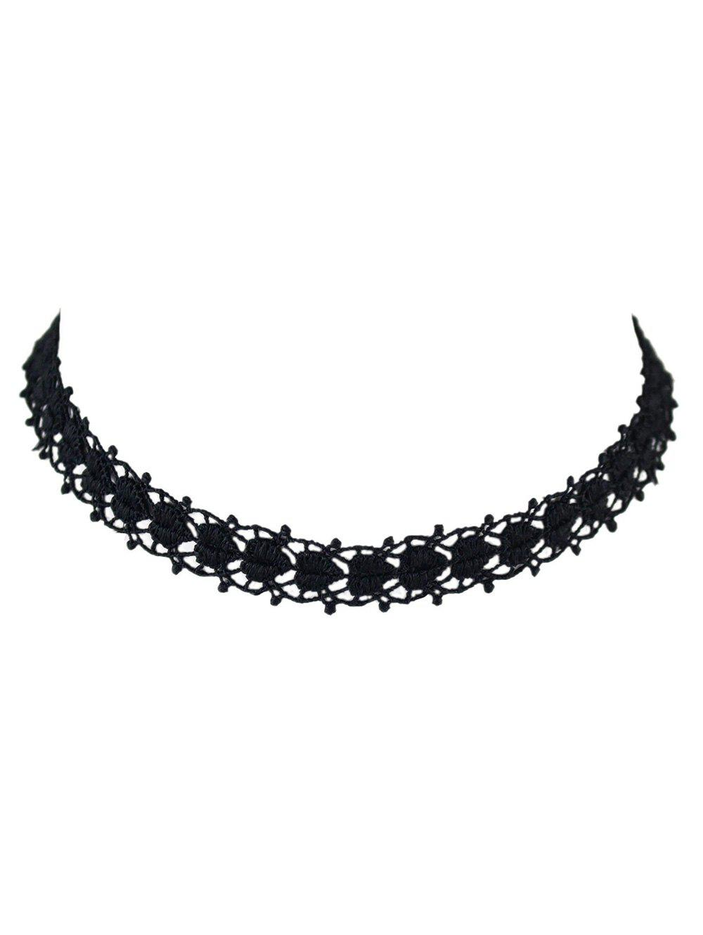 Love Heart Hollow Out Lace Choker - BLACK