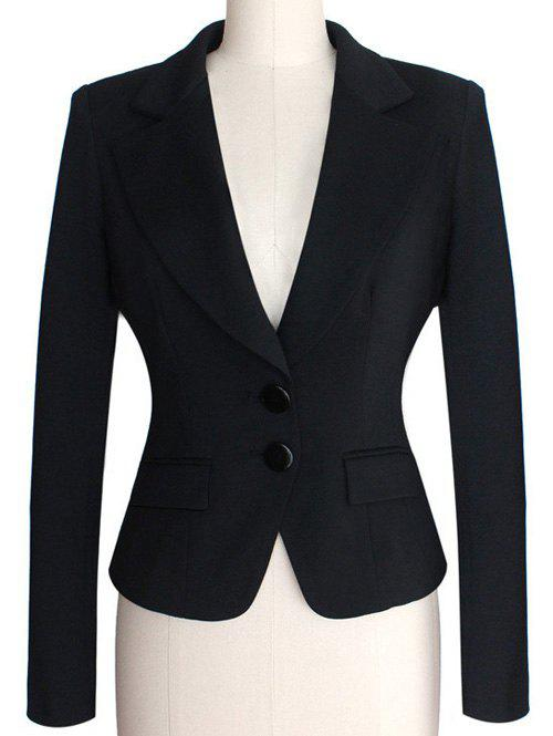 Two Buckle Slim Fit Short Peplum Blazer - BLACK 4XL