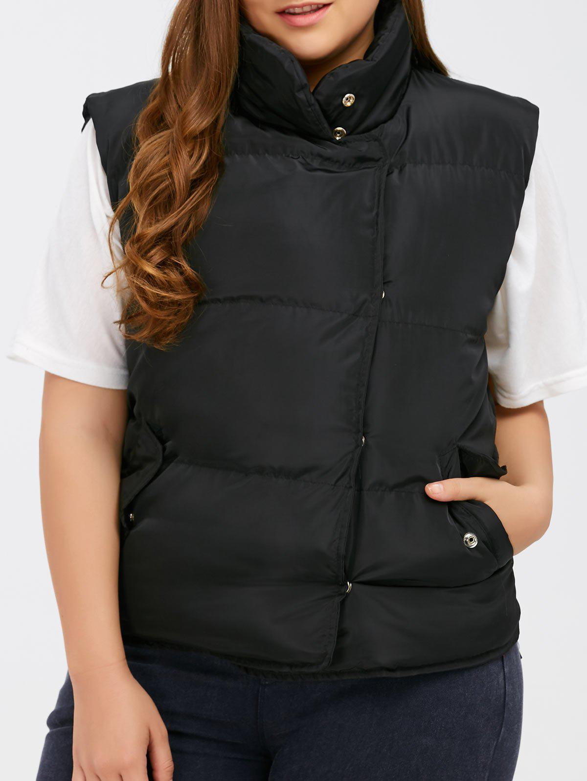 Button Up Stand Collar Padded Vest цены