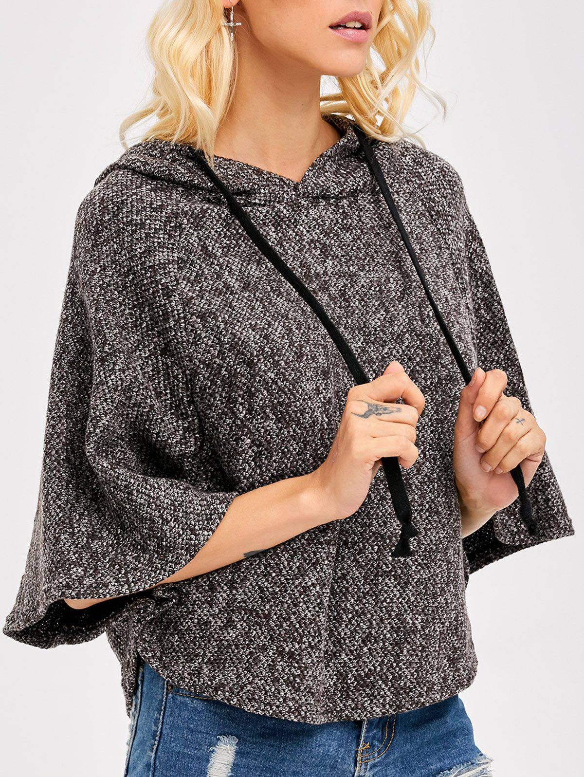 Heather Hooded Cape Poncho - Kaki ONE SIZE