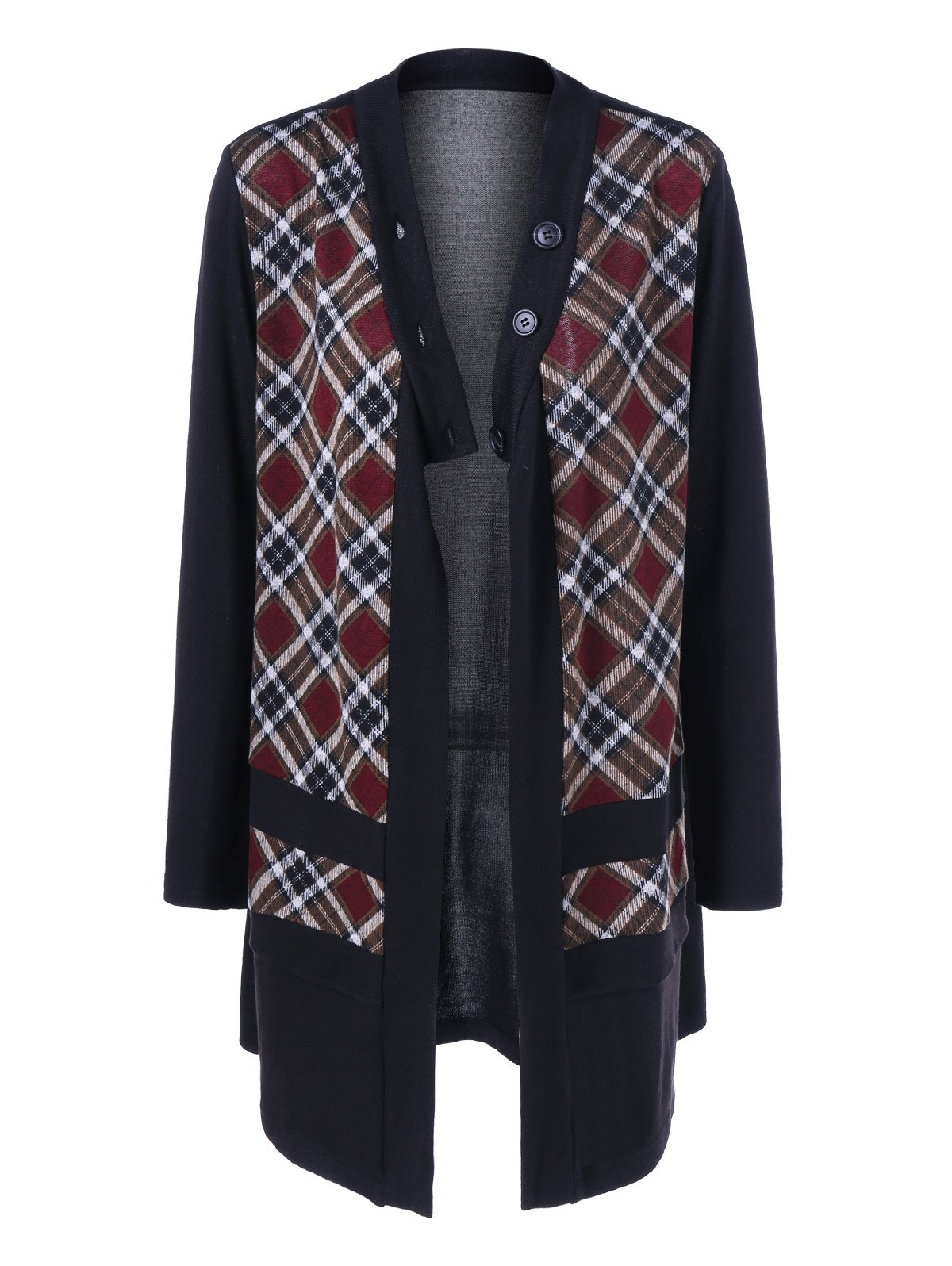 Plaid Trim Button Fly CoatWomen<br><br><br>Size: M<br>Color: CHECKED