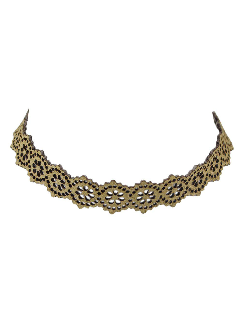 Floral Hollow Out Velvet Choker Necklace - KHAKI