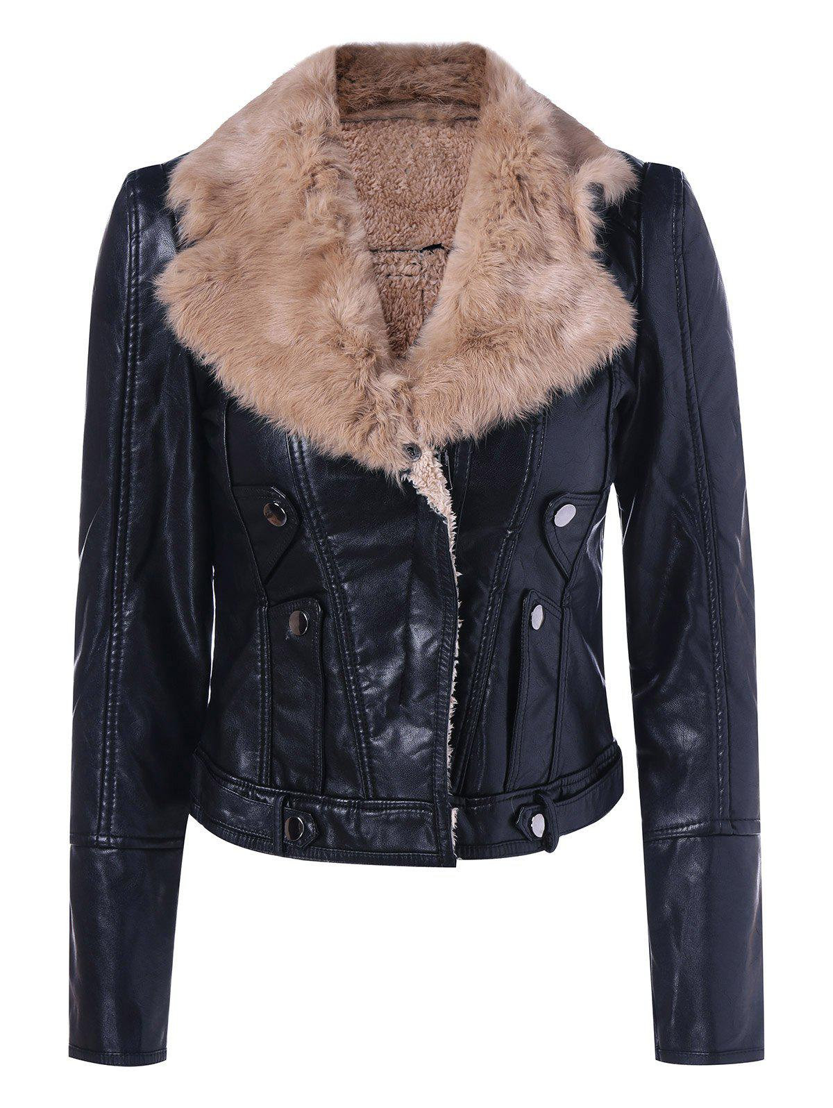 Faux Leather Collar Winter Biker Jacket with Fur Collar - CAMEL M