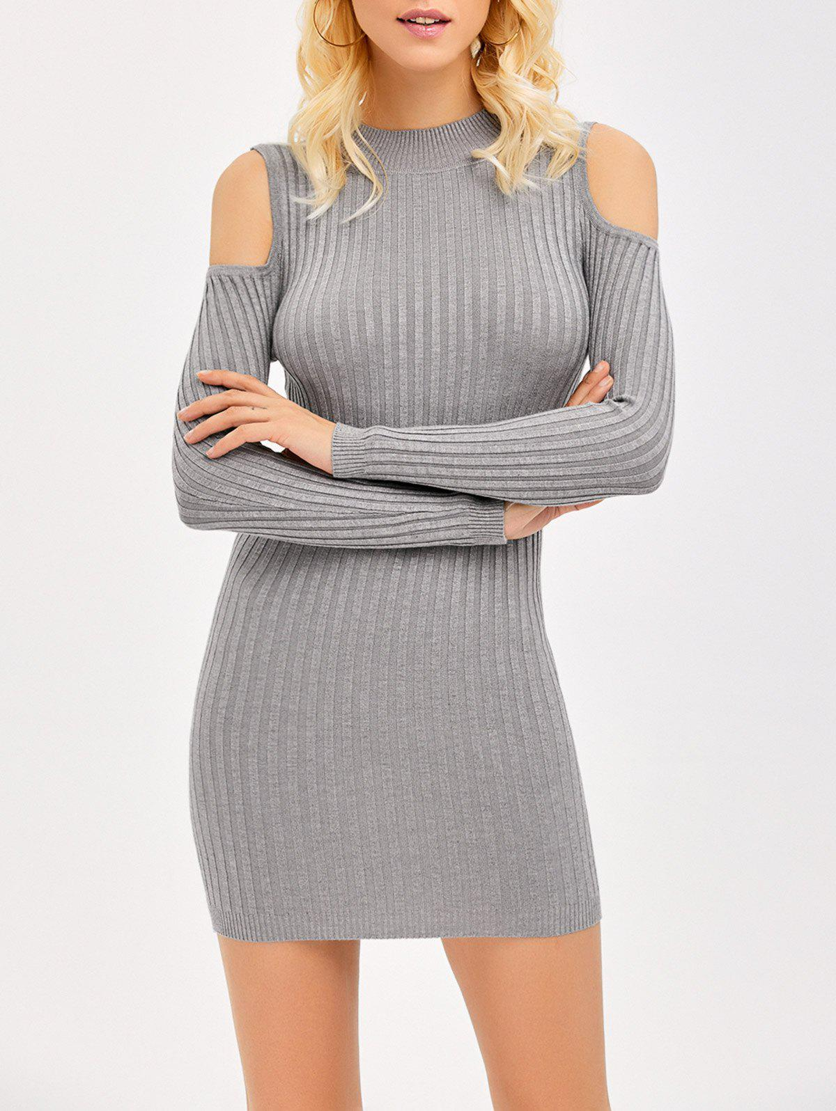 Ribbed Cold Shoulder Long Sleeve Bodycon Dress - GRAY XL