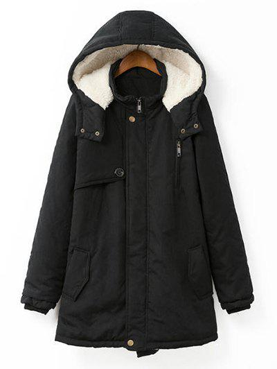Plus Size Hooded Flocking Coat - BLACK XL