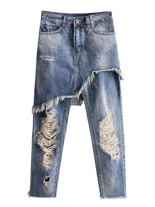 Ripped Bleach Wash Asymmetric Jeans - LIGHT BLUE M