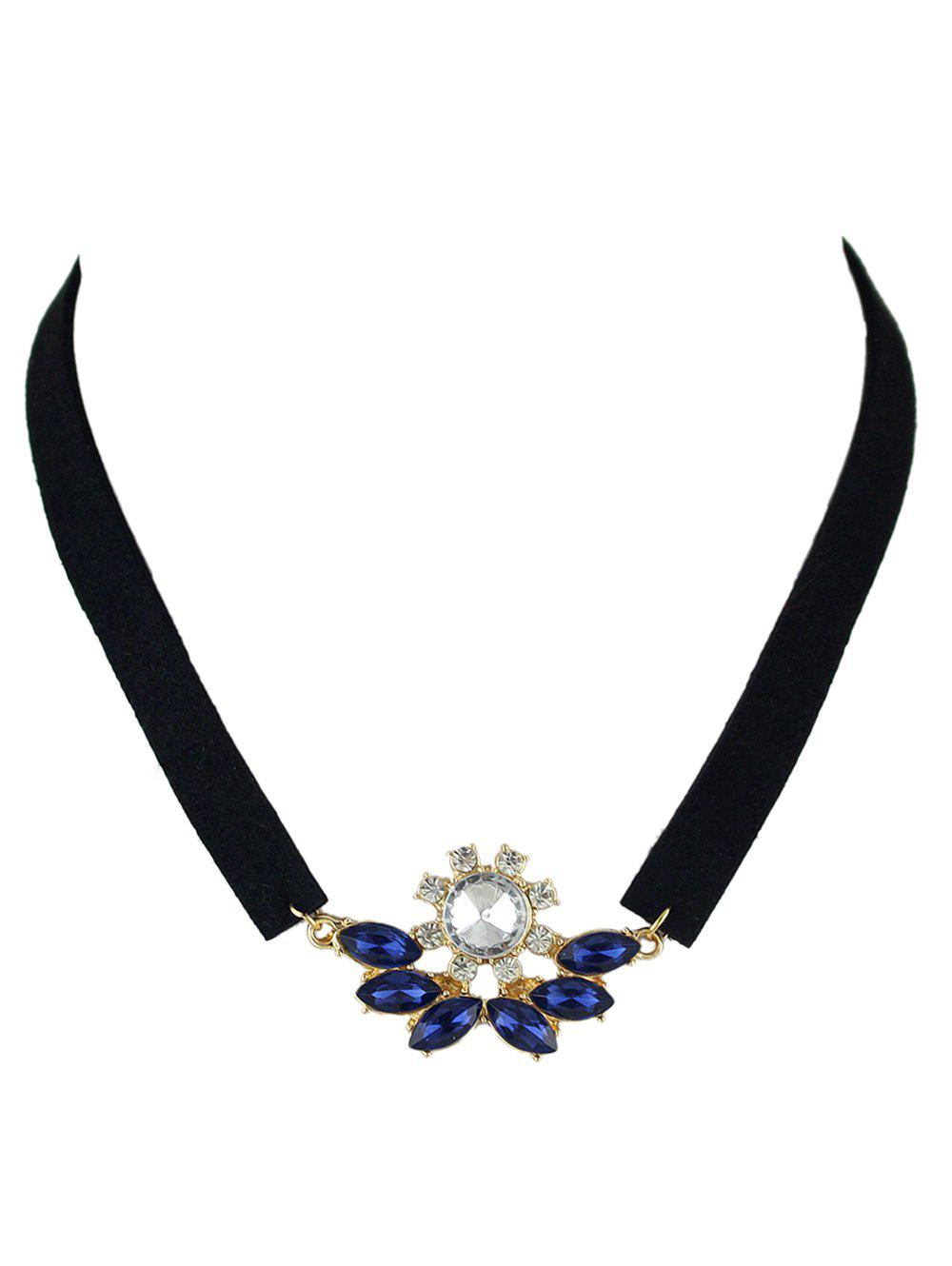 Faux Crystal Velvet Choker Necklace - BLUE