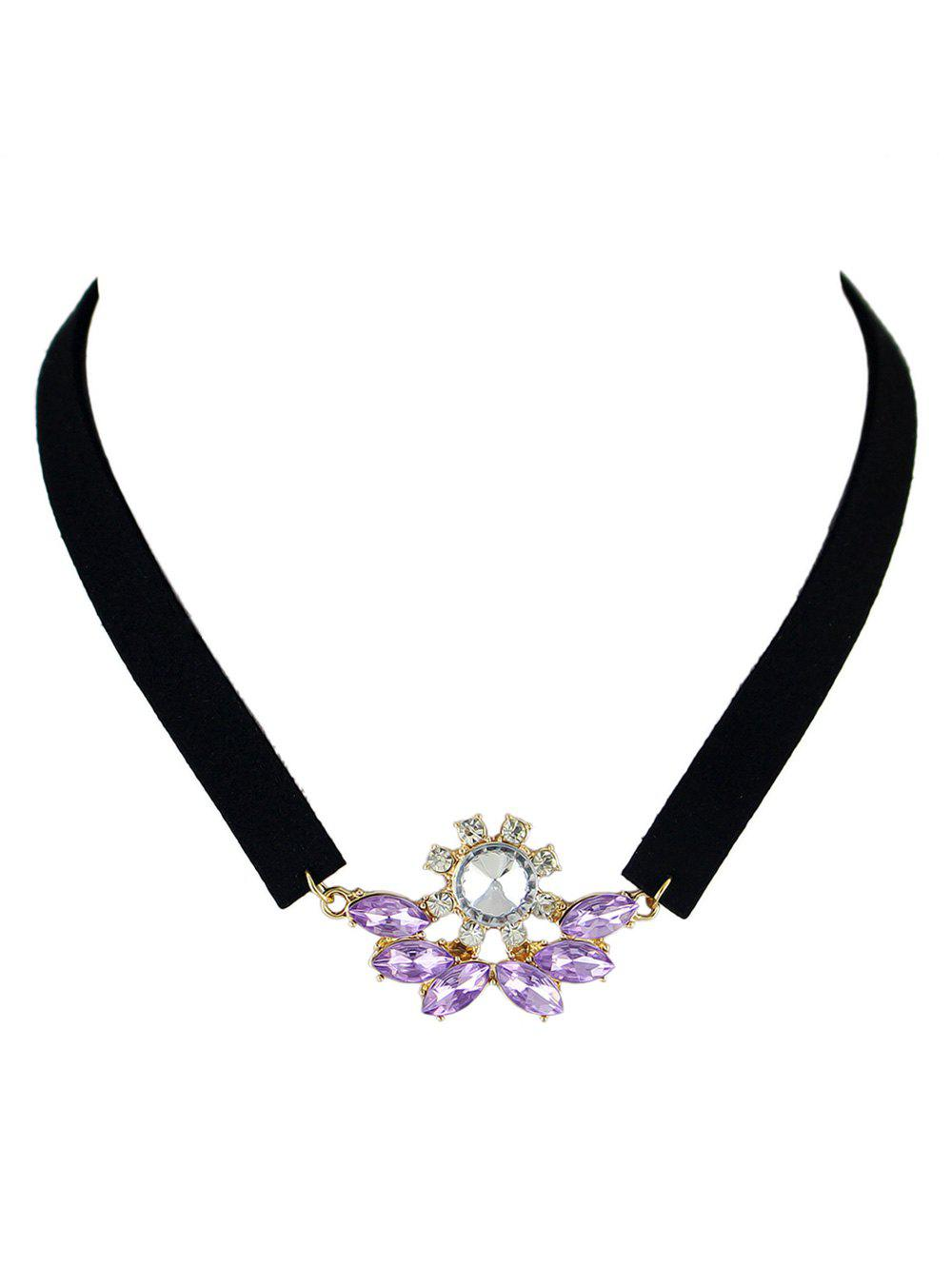 Faux Crystal Velvet Choker Necklace - PURPLE