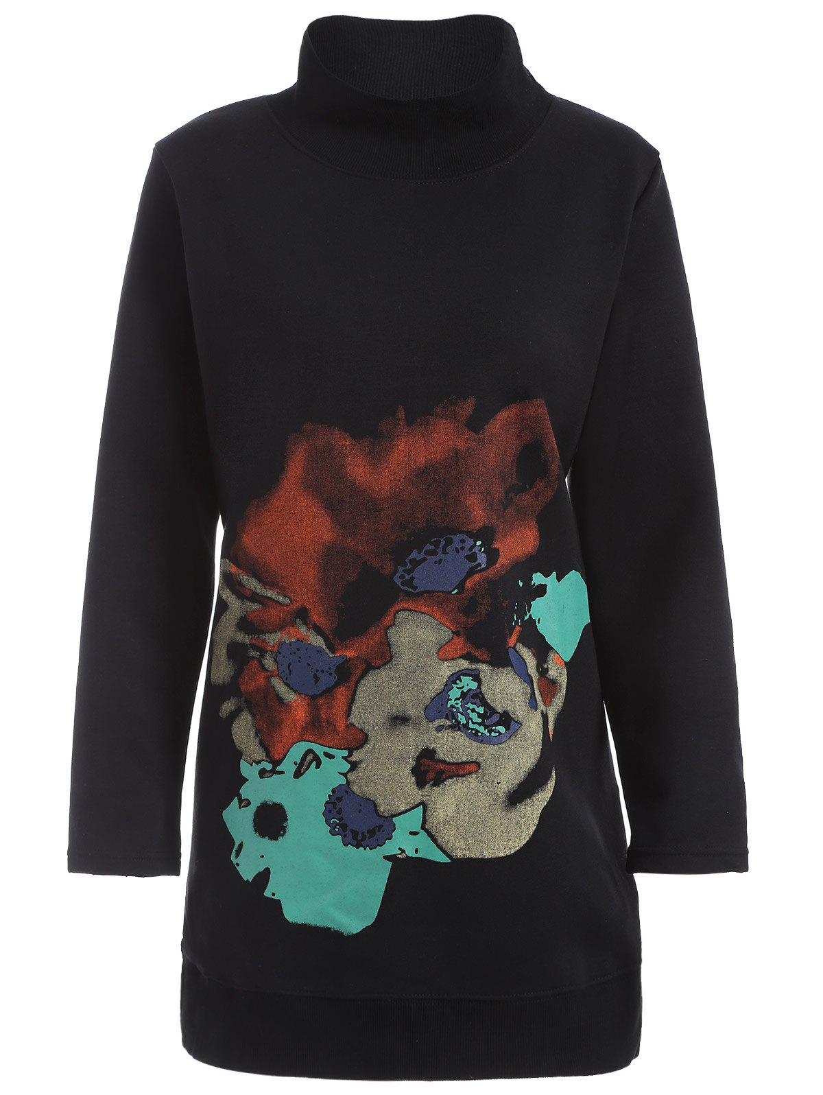 Abstract Print Plus Size Mock Neck Sweatshirt - BLACK 2XL