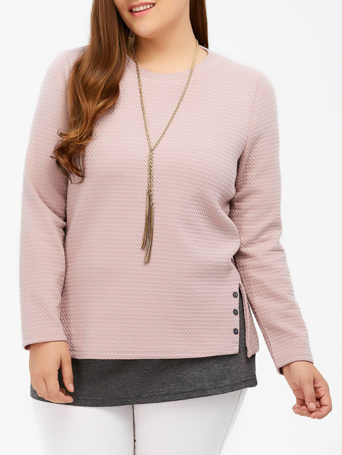 Side Slit Insert Knitwear - PINK/GREY 4XL