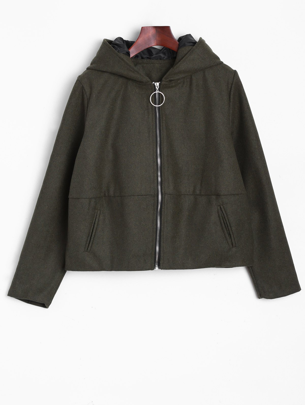 Ears Hooded Bomber Jacket - ARMY GREEN ONE SIZE