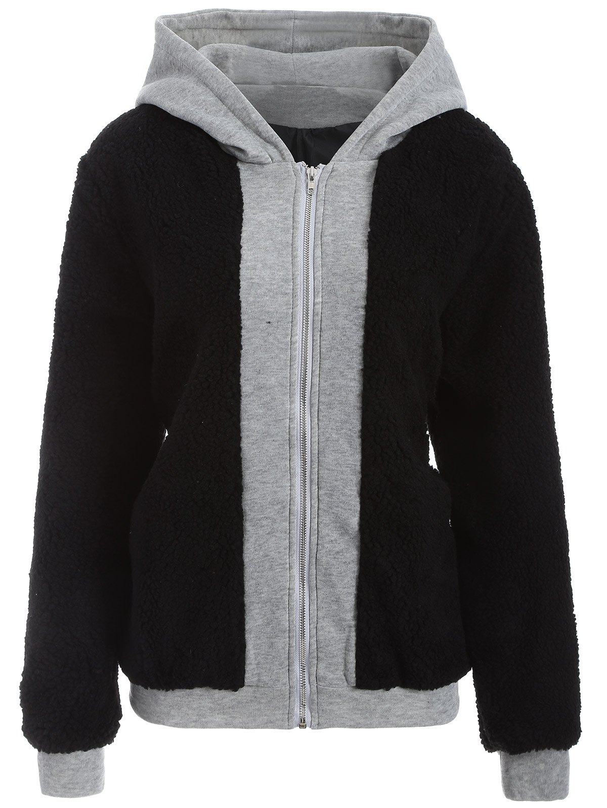 Faux Shearling Panel Plus Size Thicken Hoodie - BLACK 2XL