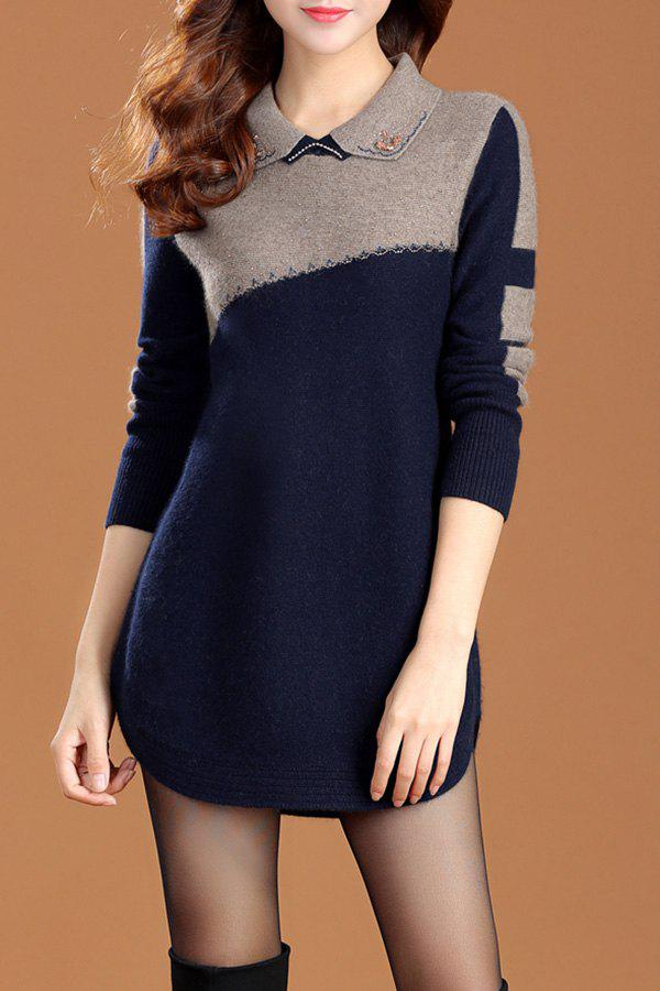 Color Block Long Sleeve Sweater Dress - CADETBLUE L