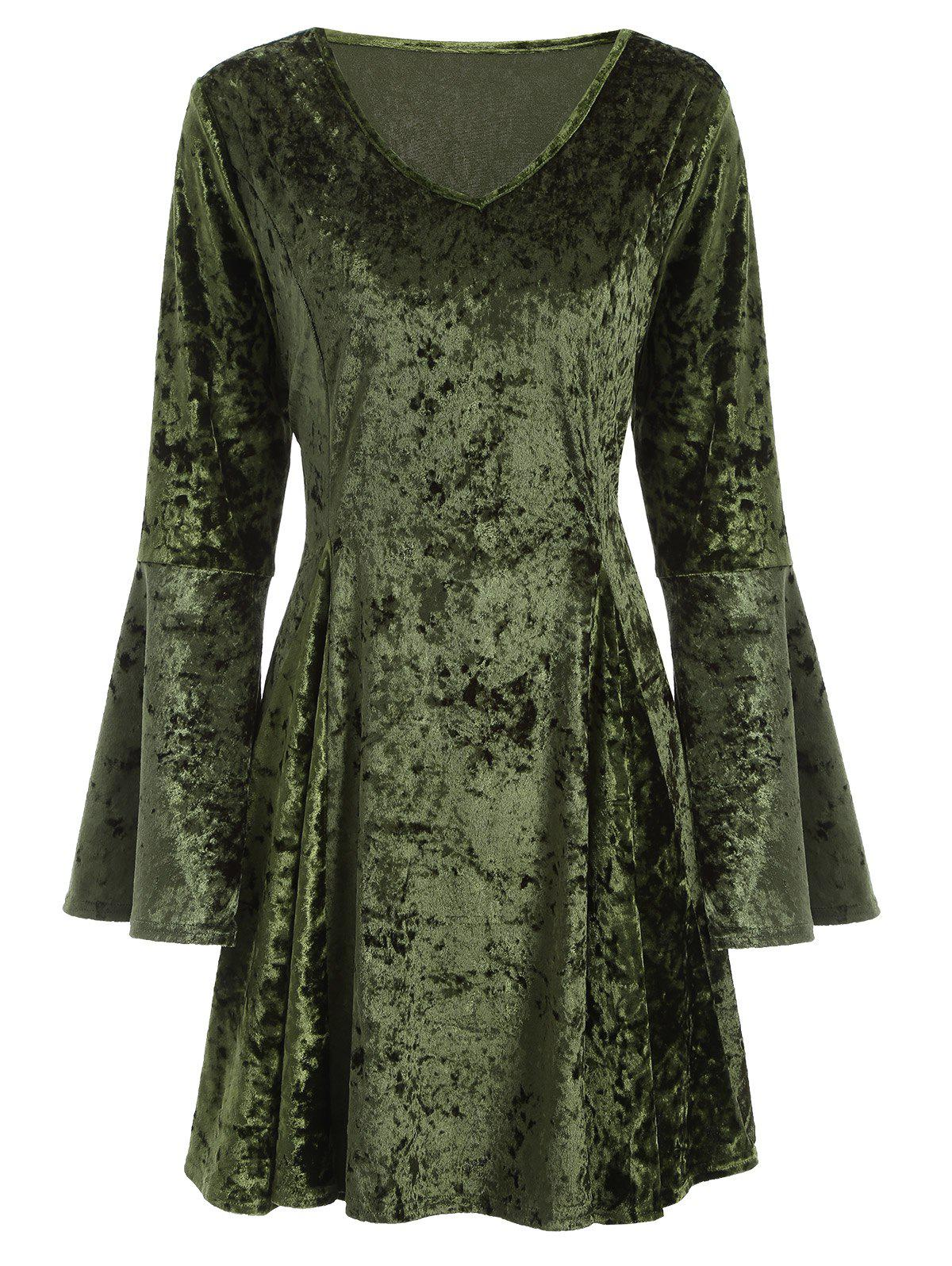 Green lace long sleeve dress