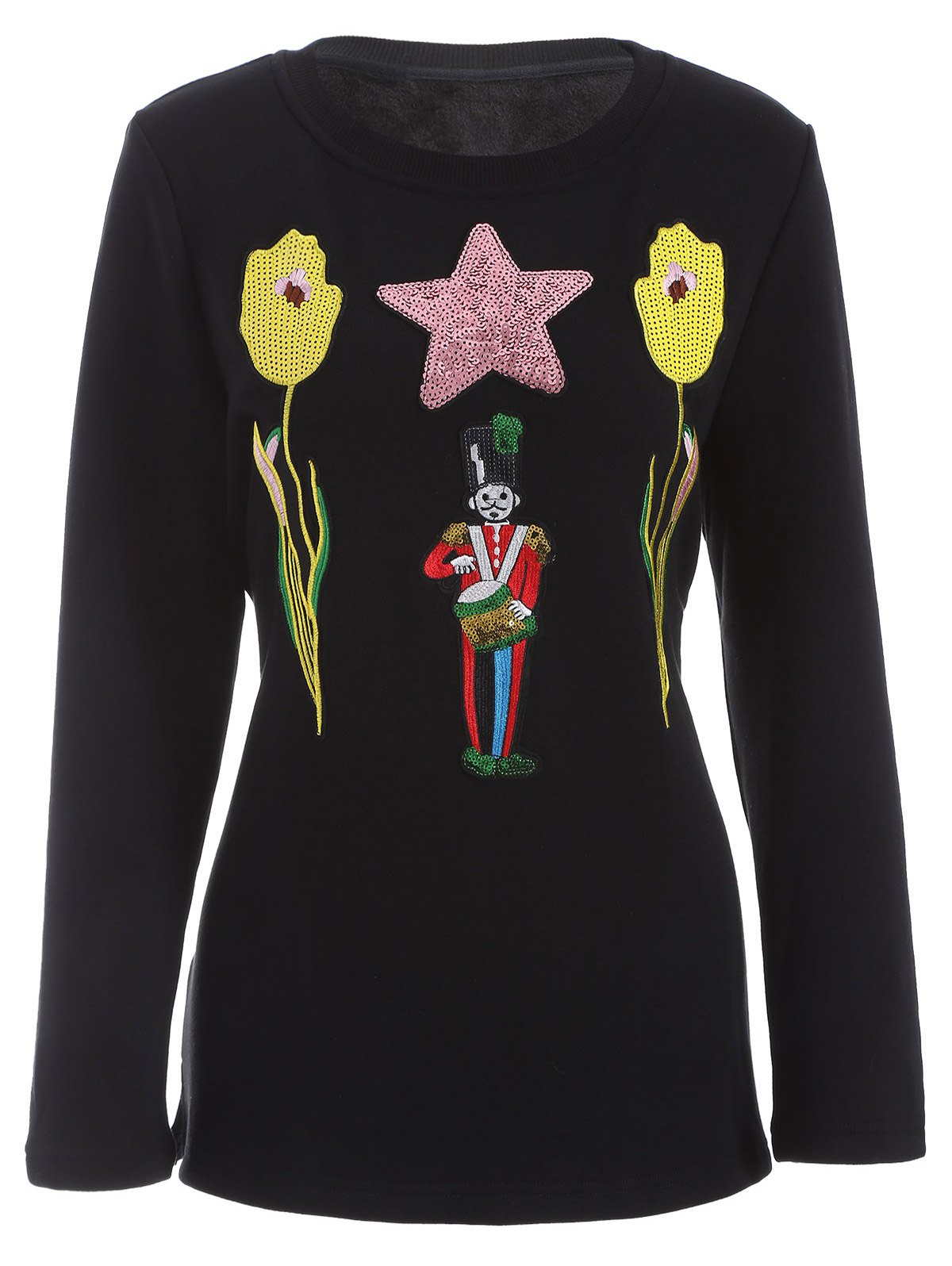 Plus Size Flower and Sodier Sequins Embroidery Thicken Knitwear - BLACK 2XL