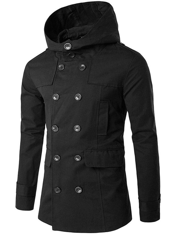 Buy Hooded Lapel Collar Double Breasted Coat BLACK