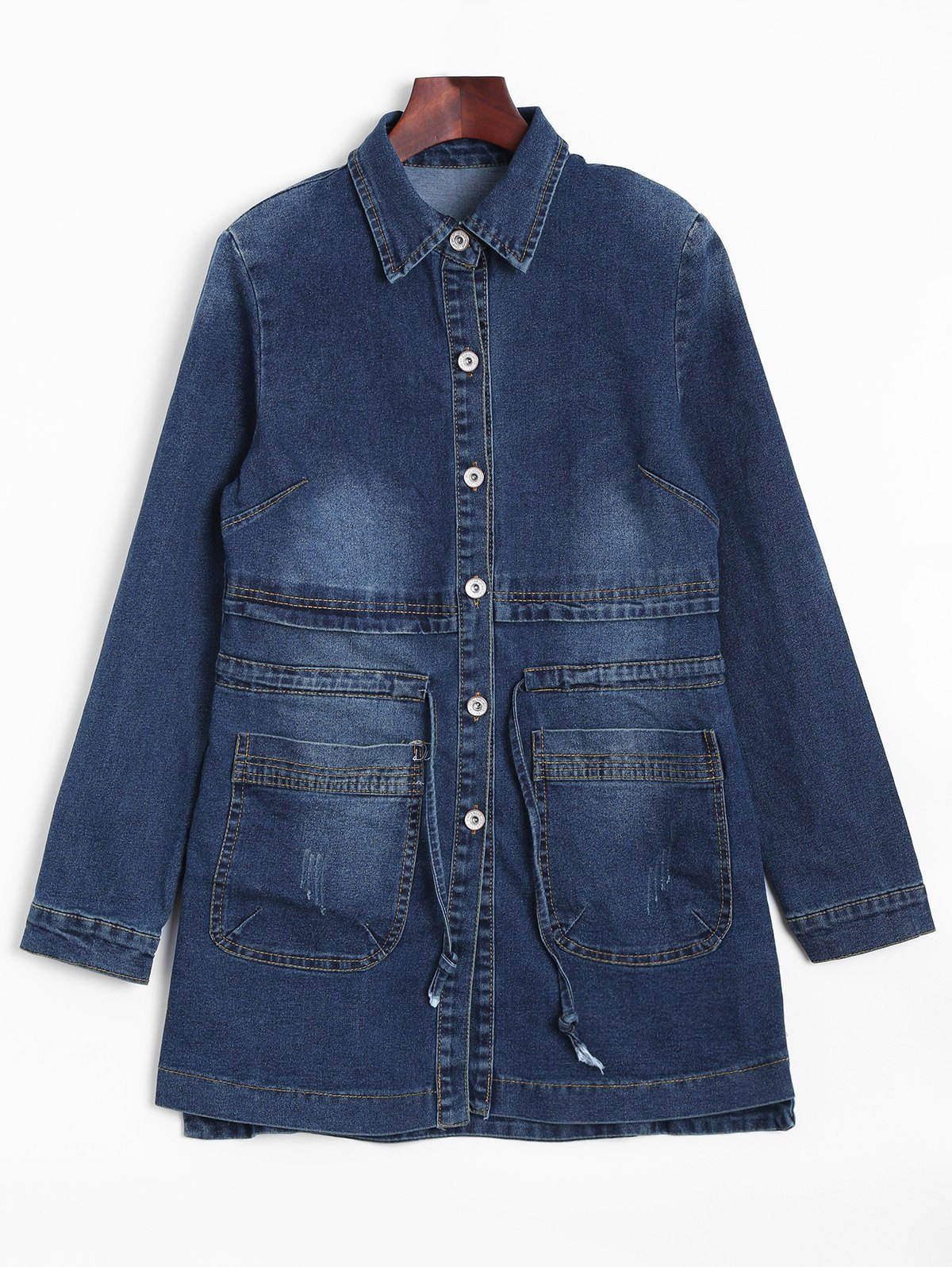 Faded Drawstring Denim Jacket - Bleu Foncé M