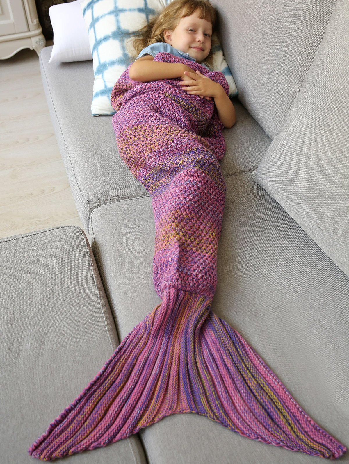 Winter Thicken Longer Color Block Design Knitted Wrap Kids Mermaid Tail Blanket thicken knitted sleeping bag kids wrap sofa mermaid blanket