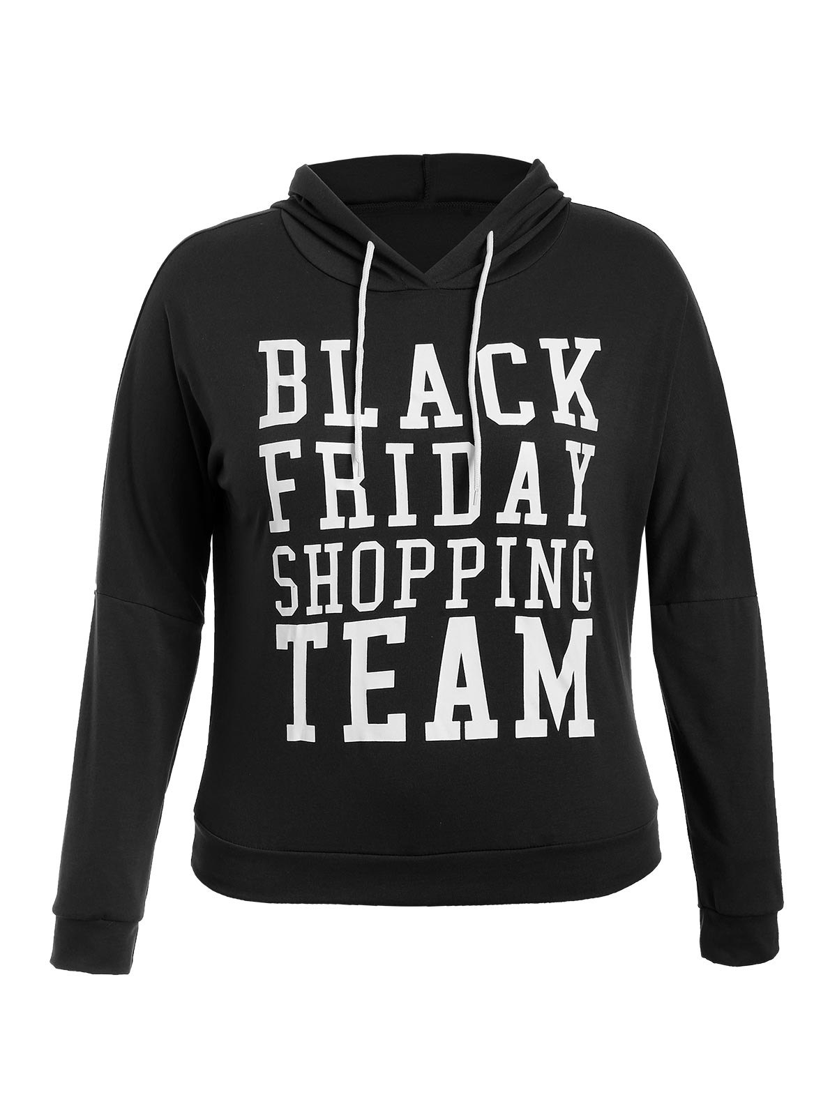 Black Friday Print Plus Size HoodieWomen<br><br><br>Size: 3XL<br>Color: BLACK