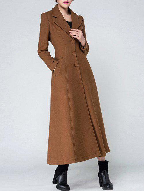 Lapel Wool Long Skirted CoatWomen<br><br><br>Size: L<br>Color: KHAKI