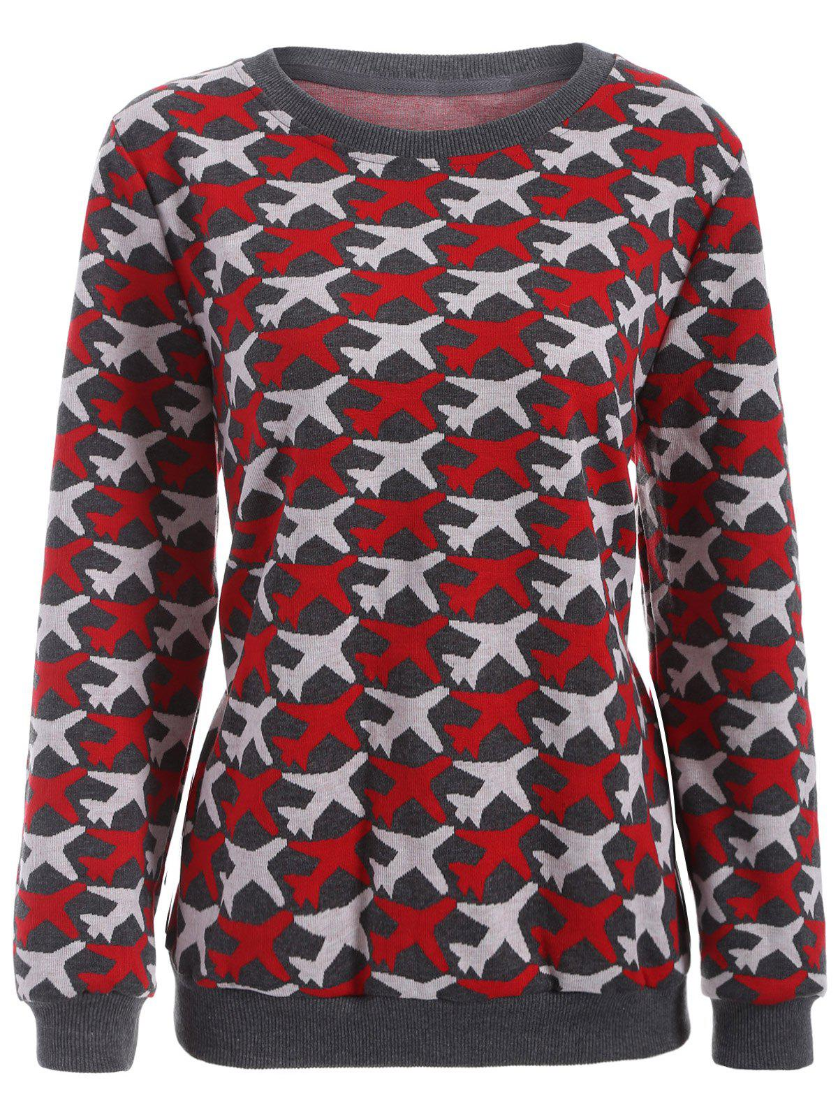 Casual Airplane Pattern Plus Size Knit Sweatshirt - RED 2XL