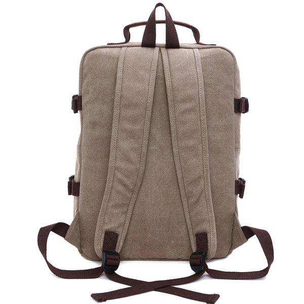 Casual Multifonctionnel Canvas Backpack - Kaki Clair