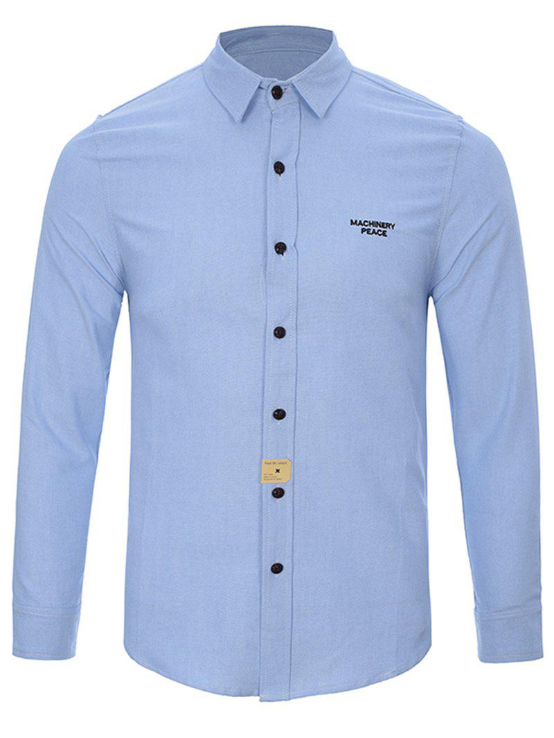 Turndown Collar Long Sleeve Button Letter Shirt - LIGHT BLUE L