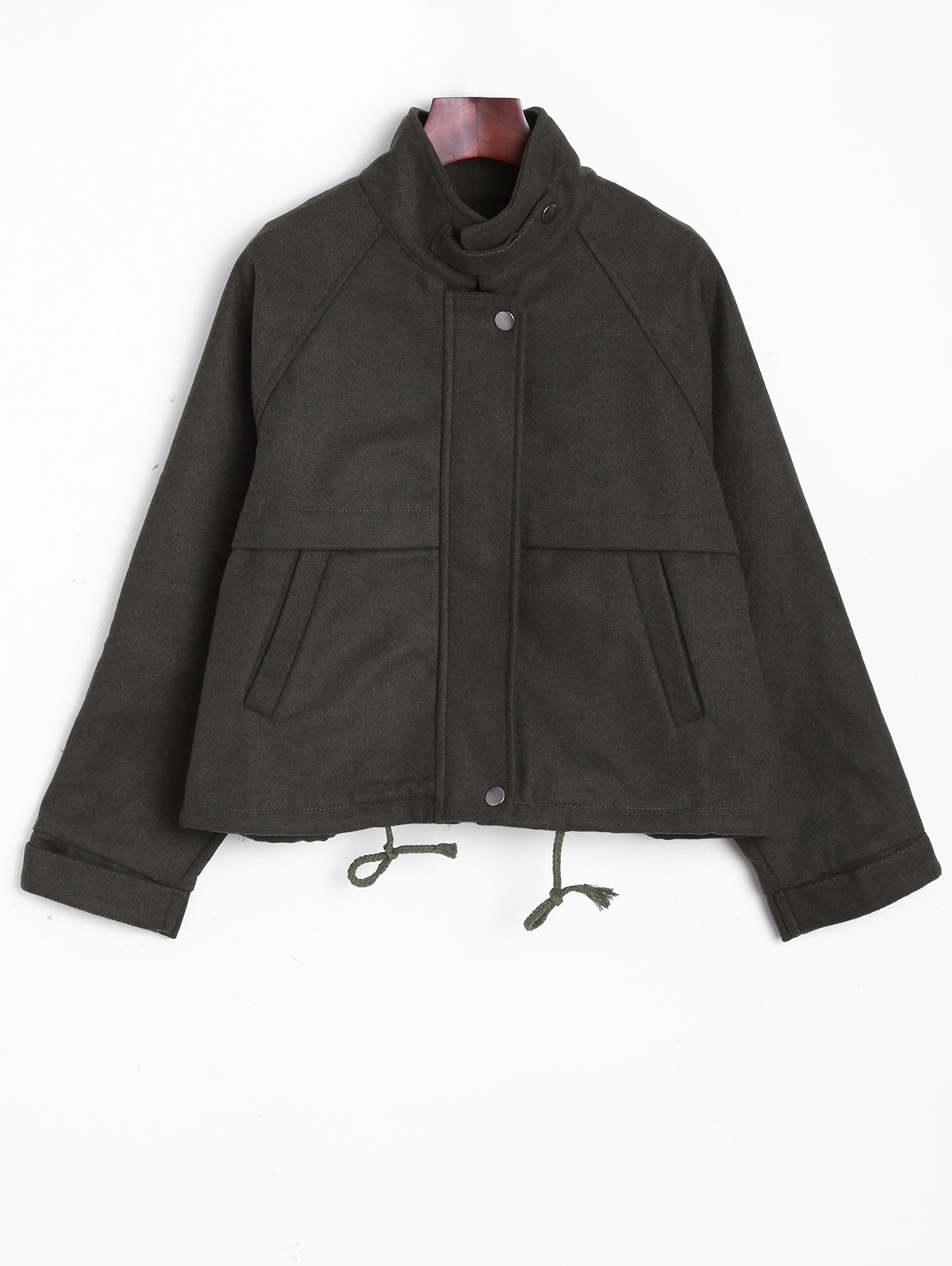 Stand Collar String  Jacket - ARMY GREEN ONE SIZE