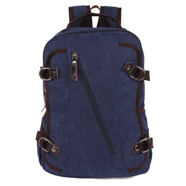 Side Pockets Canvas Multifunctional Backpack - DEEP BLUE