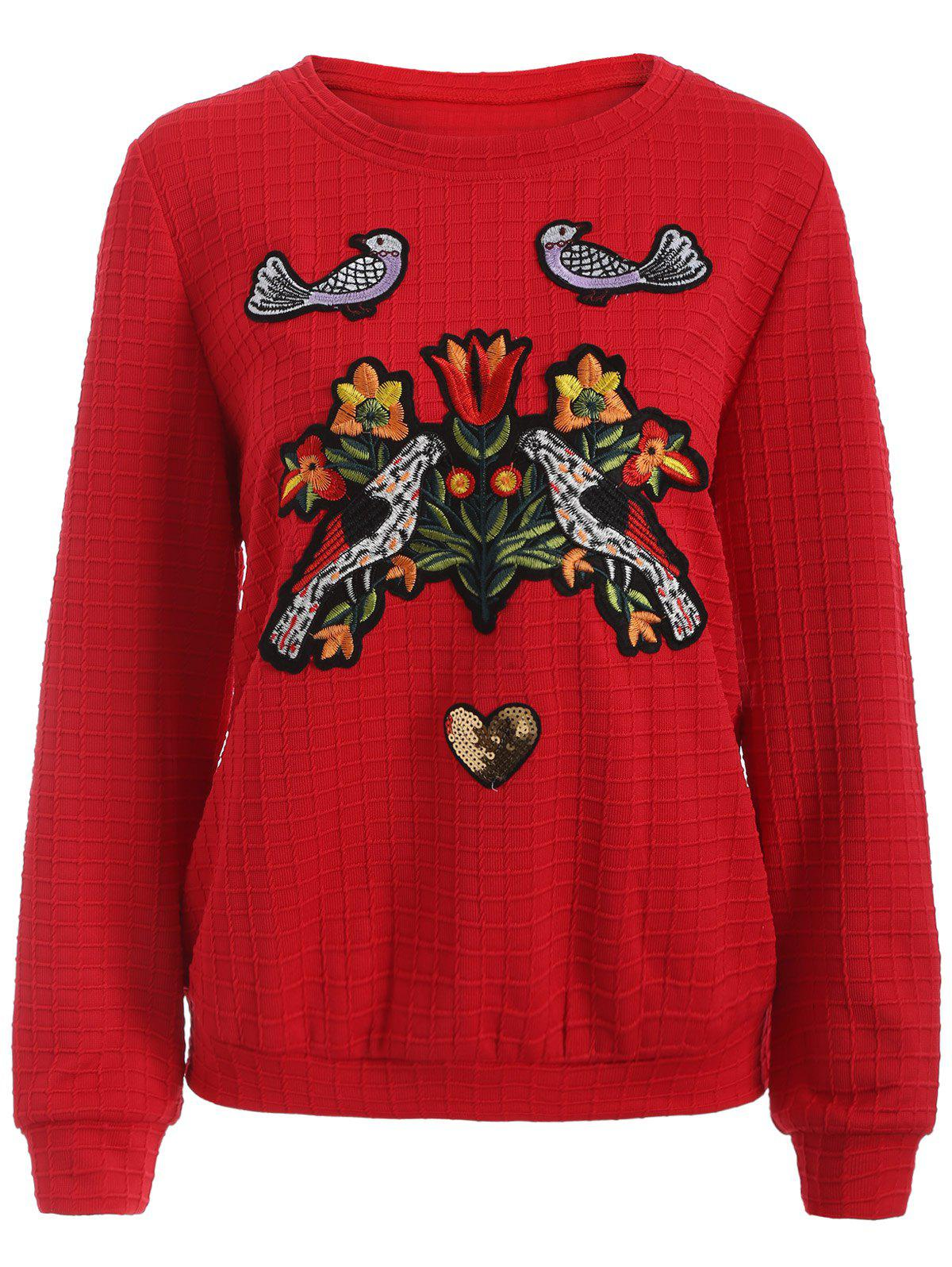 Flower and Bird Embroidery Heart Sequins Gingham Sweatshirt